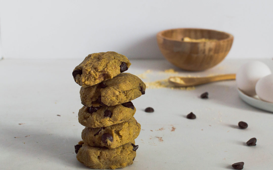 Biscuits tahini, farine de pois chiches et pépites de chocolat